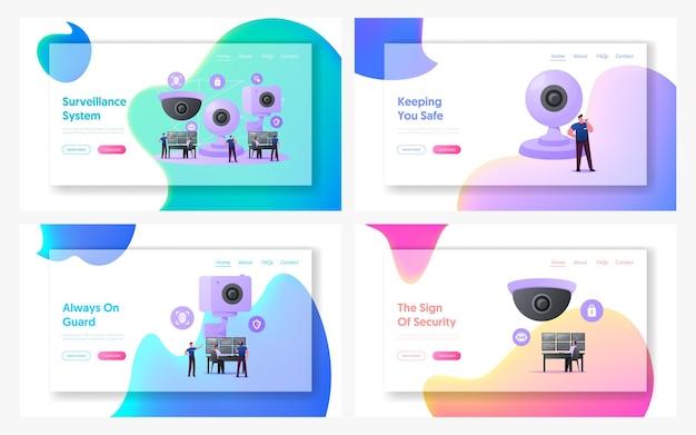 Set di modelli di pagina di destinazione del sistema di sorveglianza dei caratteri di sicurezza.