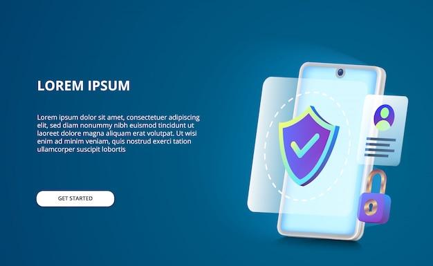 Concetto di sicurezza per smartphone anti hack, spia e virus con schermo a bagliore.