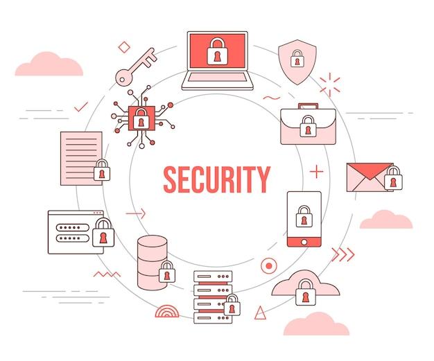 Protezione dello scudo del laptop con chiave del lucchetto del concetto di sicurezza con set di icone modello con stile moderno di colore arancione e forma rotonda del cerchio