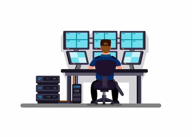 Sicurezza nella sala controllo tvcc, guardia di sicurezza dell'edificio seduto e guardando il monitor della telecamera da vista posteriore. illustrazione piana del fumetto di concetto su fondo bianco