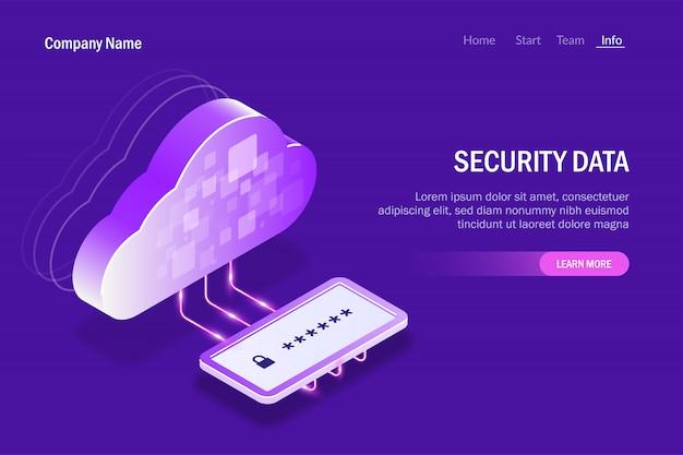 Dati di sicurezza nel cloud storage. pannello di immissione della password per l'accesso ai file protetti