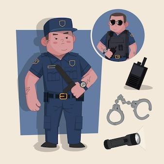 Guardia di sicurezza simpatico personaggio 2d pronto per l'animazione completo di strumenti di lavoro