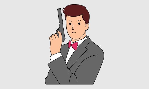 Guardia di sicurezza con una pistola isolata su grigio