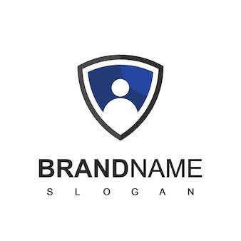 Modello di progettazione del logo di sicurezza, simbolo di persone e scudo