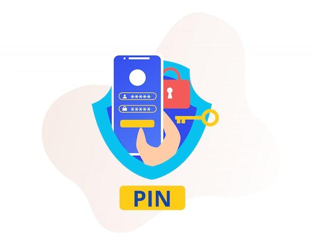 Spilla di sicurezza o numero di identificazione personale password smartphone e icona della mano scudo