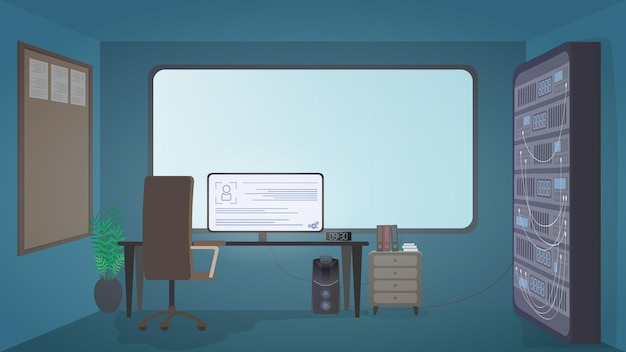 Stanza di sicurezza. computer, monitor, tavolo, sedia, grande schermo, server dati. luogo di lavoro del servizio di sicurezza. stile cartone animato. vettore.
