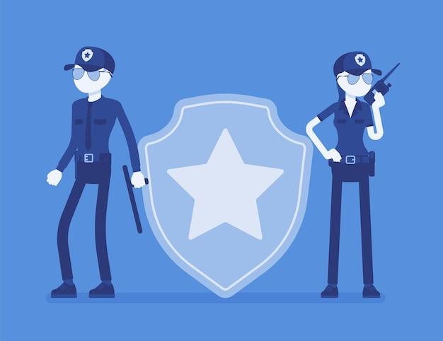 Segnale di sicurezza e agenti di guardia