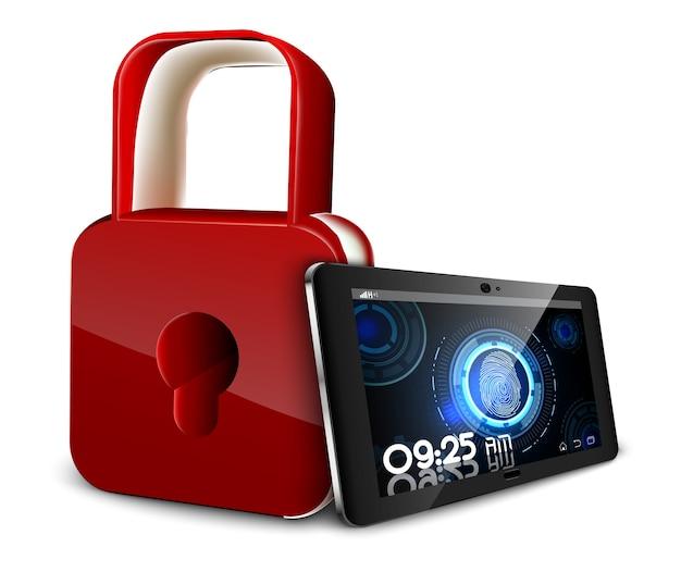 Concetto di sistema di sicurezza con scansione delle impronte digitali in tablet