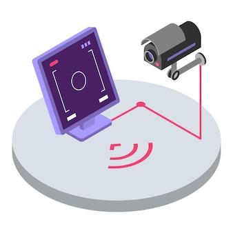 Illustrazione di colore isometrica del sistema di sicurezza. controllo remoto e monitoraggio della telecamera di sorveglianza. osservazione video cctv, concetto 3d di protezione domestica isolato su priorità bassa bianca