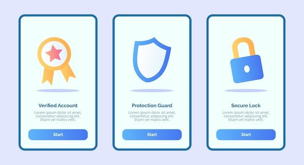 Sicurezza verificata protezione dell'account guardia blocco sicuro per l'interfaccia utente della pagina banner modello di app mobili