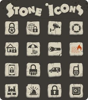 Icone web di sicurezza su blocchi di pietra nello stile dell'età della pietra