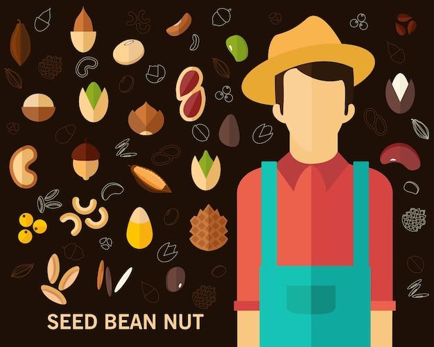 Il seme è stato fondo di concetto del dado. icone piatte.