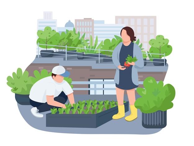 Banner web crescente di piantine, poster. la gente che pianta pianta, caratteri dei giardinieri sul fondo del fumetto. giardinaggio urbano, patch stampabili per l'agricoltura, elementi web colorati