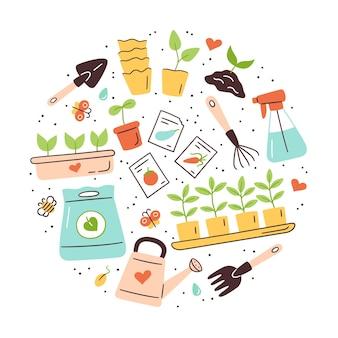 Semi e piantine. germinazione dei germogli. strumenti, vasi e terreno per la semina. set di illustrazione vettoriale isolato su sfondo bianco