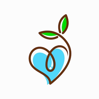 Logo di semi e acqua che ha formato il cuore