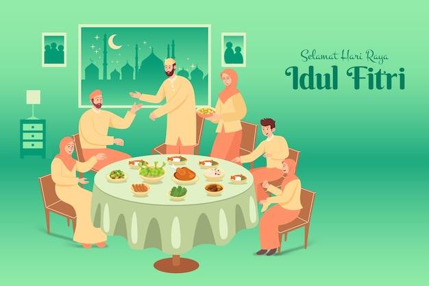 Selamat hari raya idul fitri è un'altra lingua di felice eid mubarak in indonesiano. famiglia musulmana che cena insieme