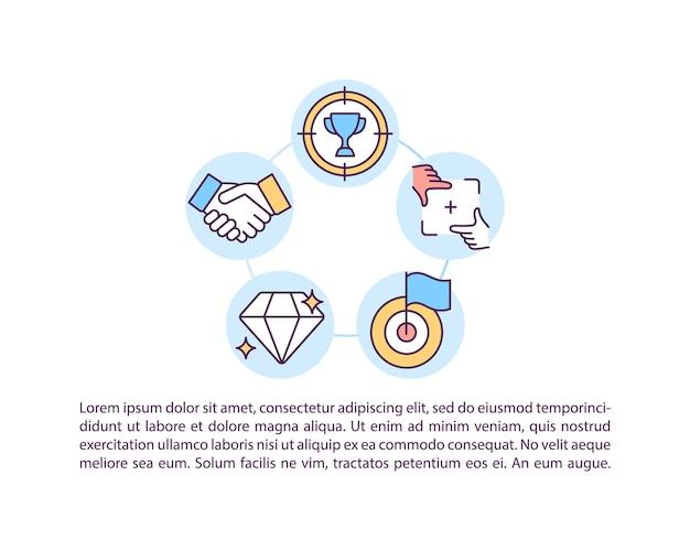 Selezione delle icone della linea del concetto di obiettivi autentici con il testo