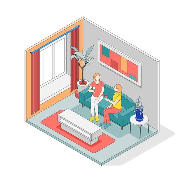Composizione isometrica nel concetto di cura di sé con una stanza isolata con pareti e due persone all'interno