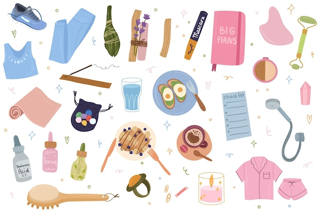 Set di prodotti di routine mattutina per la cura di sé