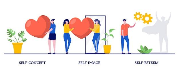 Concetto di sé con illustrazione di persone minuscole