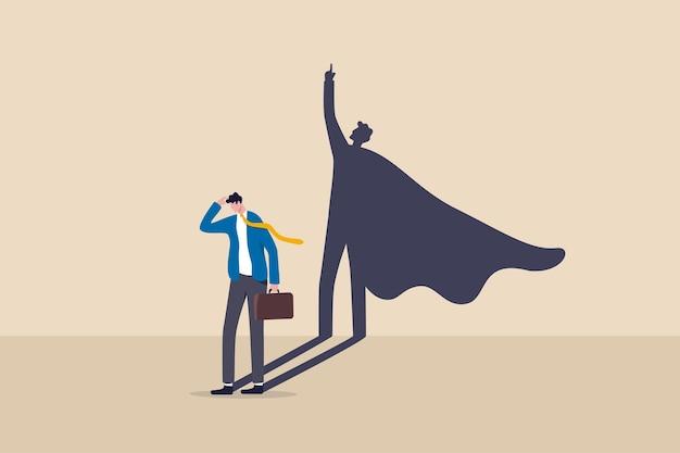 Fiducia in se stessi o leadership per portare pieno potenziale e forza, motivazione per raggiungere il concetto di successo aziendale, uomo d'affari dubbioso in piedi con la sua abile potere ombra di supereroe sul muro
