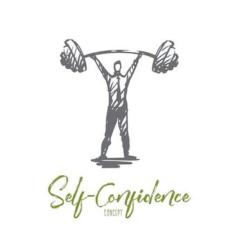 Fiducia in se stessi, successo, capo, forza, concetto di carriera. uomo di forza disegnato a mano con schizzo di concetto di bilanciere pesante.