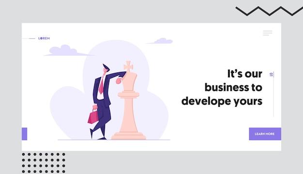 Uomo d'affari sicuro di sé che si appoggia insieme della pagina di atterraggio di concetto