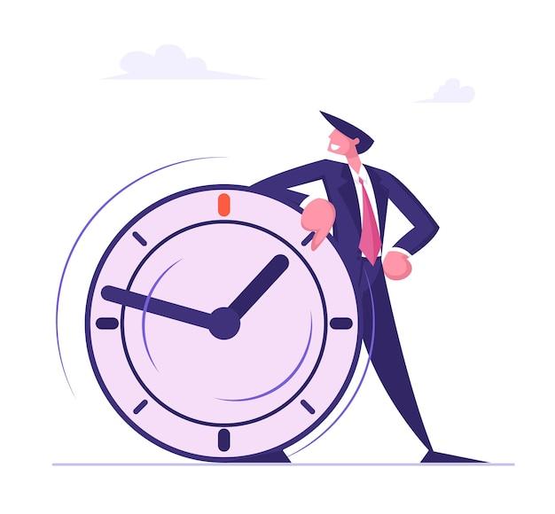Uomo d'affari sicuro di sé che si appoggia sull'orologio enorme. scadenza, gestione del tempo