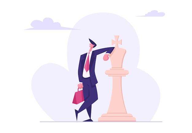 Uomo d'affari sicuro di sé che indossa l'illustrazione piana del vestito convenzionale