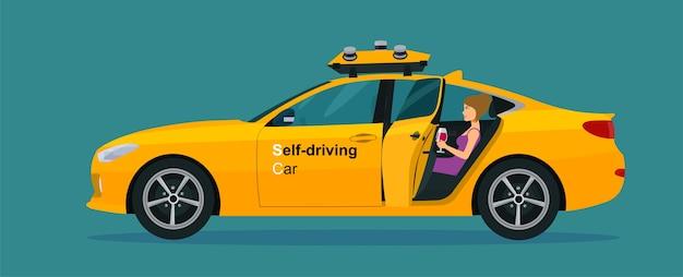 Auto berlina a guida autonoma con una porta aperta e una donna sul sedile posteriore. illustrazione di stile piatto.