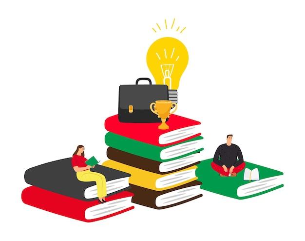 Concetto di auto educazione. lettura e successo, formazione aziendale, libri affascinanti.