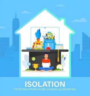 Concetto di auto isolamento con il giovane che studia da casa