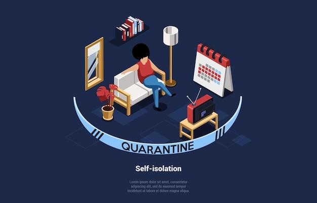 Illustrazione di autoisolamento su blu scuro. composizione isometrica del carattere della donna che si siede sul divano a guardare la tv