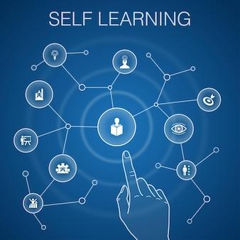 Concetto di autoapprendimento, sfondo blu. crescita personale, ispirazione, creatività, icone di sviluppo