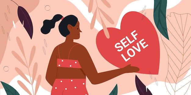 Concetto di movimento positivo del corpo di amore di sé con donna grassa felice carina in bikini in piedi