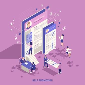 Abilità di marketing strategico del marchio personale di autopromozione che costruiscono l'illustrazione isometrica della composizione della presenza online del social network
