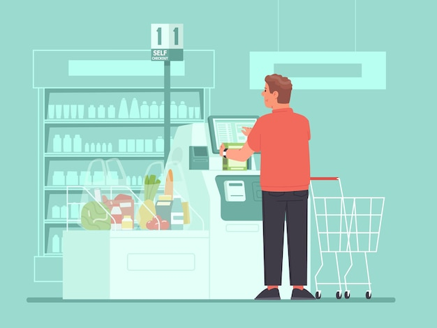 Cassiere self-service al supermercato. un cliente chiama la spesa ai terminali di self-checkout di un negozio di alimentari. illustrazione vettoriale in stile piatto
