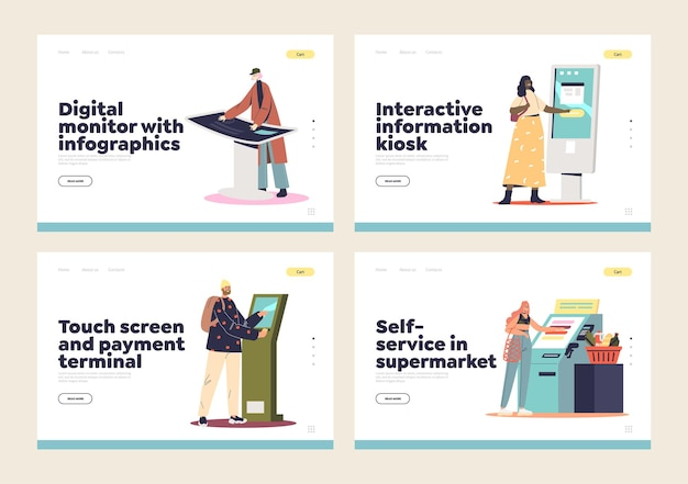 Chioschi informativi self-service, set di pagine di destinazione dei terminali di cassa digitali