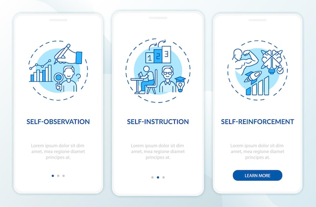 Schermata della pagina dell'app mobile onboarding blu delle tecniche di autocontrollo con concetti