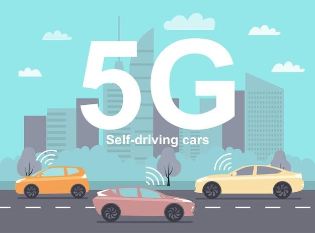 Auto a guida autonoma che utilizzano la comunicazione 5g sullo sfondo di un paesaggio urbano astratto