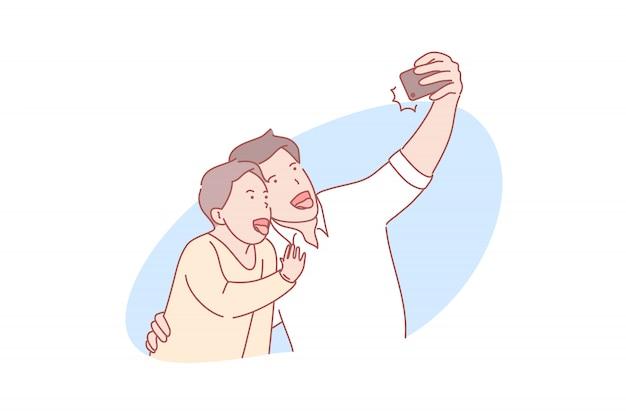 Selfie, paternità, illustrazione di festa del papà