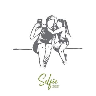 Selfie, madre, figlia, concetto felice. madre e figlia disegnate a mano che fanno schizzo di concetto di selfie.