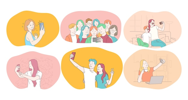 Selfie, smartphone, fotografia illustrazione vettoriale. la gente sorridente gli amici coppia la famiglia degli adolescenti