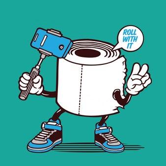 Rotolo di carta igienica selfie roll character design