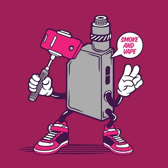 Selfie vape sigaretta elettrica fumatori character design