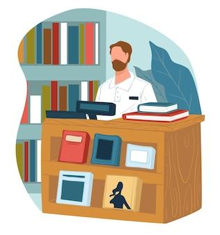 Venditore in libreria o negozio che vende pubblicazioni e letteratura moderna per i clienti. hobby della lettura e mercato per topi di biblioteca. cassiere allo sportello con libri di testo. vettore bibliotecario in stile piatto