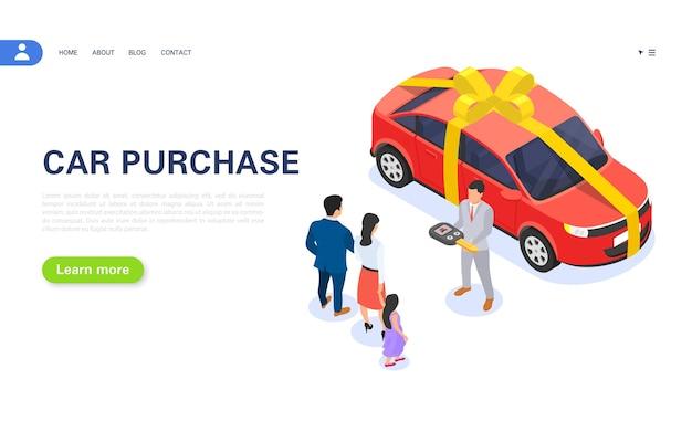 Il venditore consegna la chiave a una giovane famiglia di una nuova auto in concessionaria. offerta speciale prestito auto. vinci un'auto alla lotteria. illustrazione isometrica di vettore.