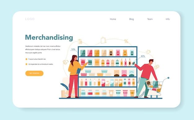 Banner web o pagina di destinazione del merchandising del venditore
