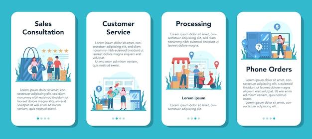 Set di banner per applicazioni mobili del venditore