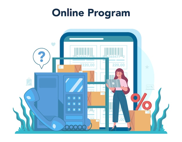 Servizio online del venditore o illustrazione della piattaforma